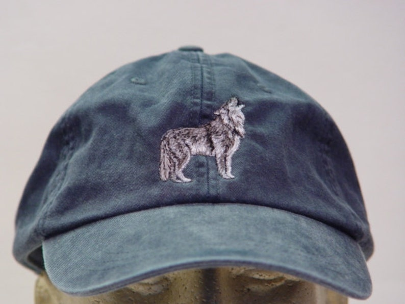 ac363987 GRAY WOLF HAT - One Embroidered Men Women Wildlife Baseball Cap - Price  Embroidery Apparel - 24 Color Mom Dad Grey Timber Wolves Packs Caps