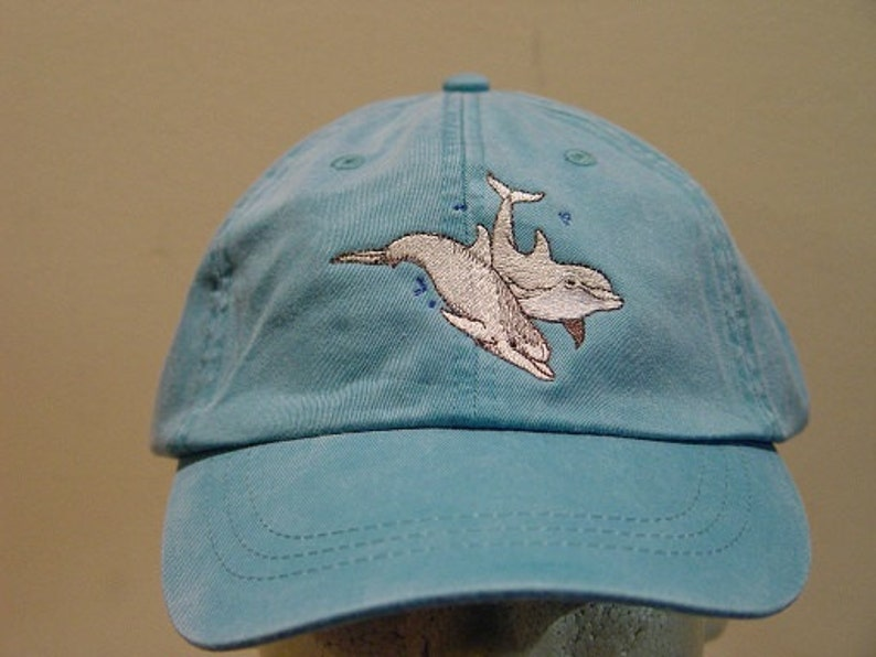 8cb73909a779d TWO DOLPHINS HAT One Embroidered Men Women Wildlife Baseball