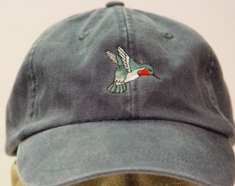 HUMMINGBIRD Hat - One Embroidered Men Women Wildlife Bird Cap -   Price Embroidery Apparel  - 24 Different Color Mom Dad Gift Caps Available