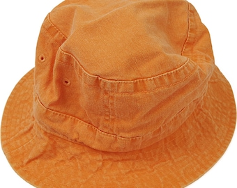 TANGERINE ORANGE XL Bucket Hat - Women or Men Adams Cap - Price Apparel Embroidery - 10 Different Colors