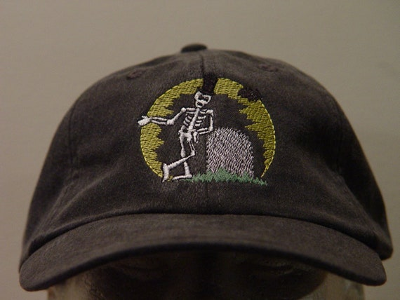 de74fbc41df3e NEW HALLOWEEN SKELETON Hat Embroidered Spooky Graveyard Bones