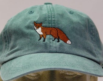 RED FOX HAT - Embroidered Wildlife Women Men Mom Dad Baseball Cap - Price Embroidery Apparel - 24 Color North America Arctic Adult Gift Caps