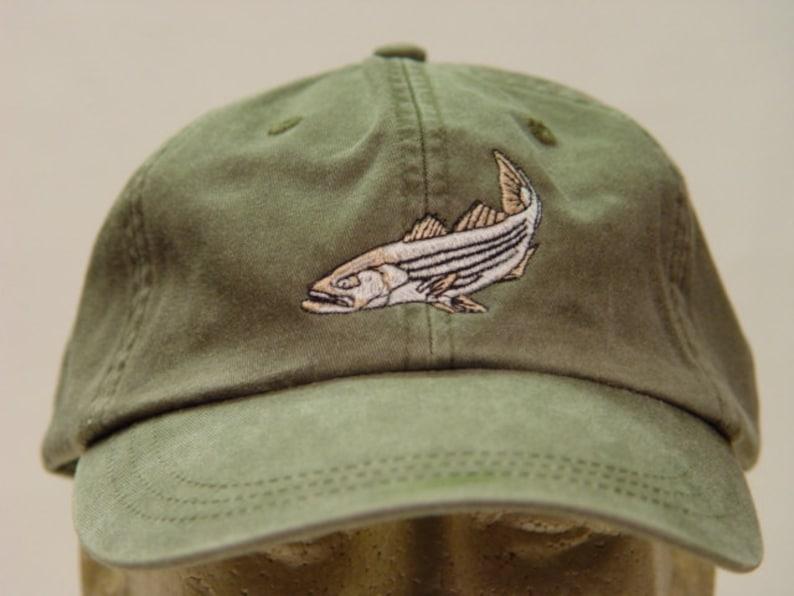 79c6dc95ab7b2f Striped Bass Hat Embroidered Striper Fish Wildlife Baseball | Etsy