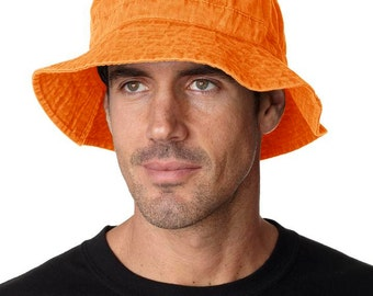LARGE TANGERINE ORANGE Bucket Hat - Women or Men Adams Cap - Price Apparel Embroidery