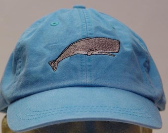 SPERM WHALE HAT - One Embroidered Men Women Wildlife Baseball Cap - Price Embroidery Apparel - 24 Color Caps Mom Dad Gift Ocean Sea Marine