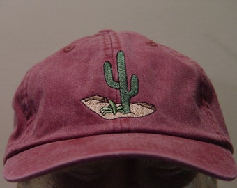 CACTUS DESERT HAT - Embroidered Men Women Wildlife Baseball Cap - Price Embroidery Apparel - 24 Color Mom Dad Southwest Gift Caps Available
