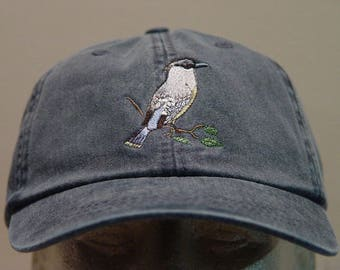 CEDAR WAXWING Bird Hat - One Embroidered Wildlife Cap - Price Embroidery Apparel - 24 Color Caps Available