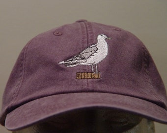 SEAGULL BIRD HAT - One Embroidered Men Women Wildlife Baseball Cap - Price Embroidery Apparel - 24 Color Mom Dad Gift Caps Ocean Seabirds