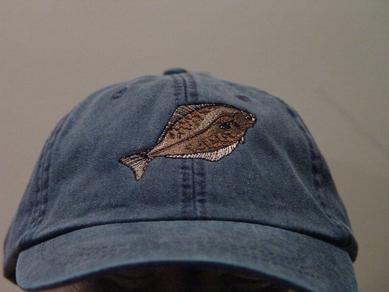 8a05783e307 HALIBUT FISH HAT Embroidered Saltwater Wildlife Baseball Cap