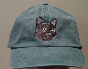 BOMBAY SHORTHAIRED CAT Hat - Embroidered Men Women Baseball Cap - Price Embroidery Apparel 24 Color Mom Dad Gift Feline Burmese Breed Caps