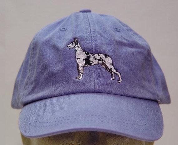 Adjustable Leather Strap Great Dane Embroidered Hat Dog Pet Cap LP101