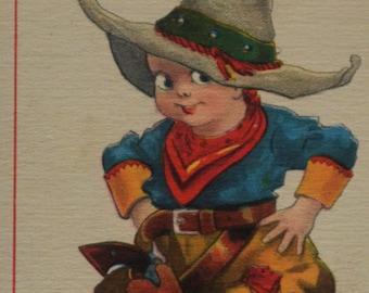 Little Cowboy Chaps 6 Gun Hat Better Shoot Off Gun than Mouth Artist Signed Wall Antique Postcard 1914