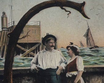 Art Large Letter G Couple Sailboats and Ocean 1908 Antique Postcard