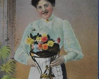 Woman White Apron Flower Bouquet Antique Postcard