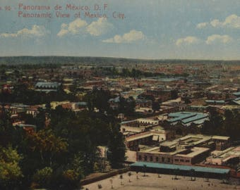 Mexico City Panoramic View Used Antique Postcard