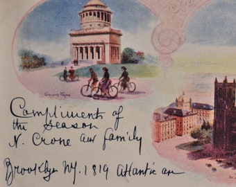 Vintage Postcard NYC Riverside Church Grant/'s Tomb GW Bridge New York City Photograph Colourpicture Image 1940s Unused Linen Post Card K4828