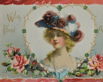 Art With Fond Affection Pretty Woman Large Pink Flowered Hat Tuck's Postcard