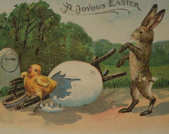 Joyous Easter Yellow Chick Rabbit Broken Eggshell Hand Cart Embossed 1908 Antique Postcard