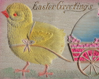 Easter Greetings Yellow Chick Pulls Blue Egg Pink Cart Emroidered Antique Postcard