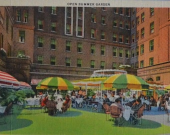 Jacques French Restaurant Open Summer Garden Chicago Illinois Linen Postcard