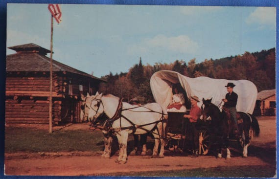 covered wagon horses frontier town schroon lake new york ny