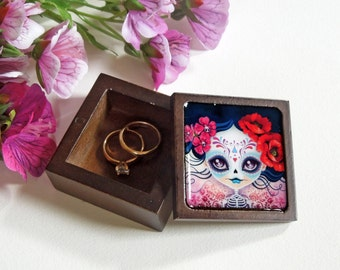 Your Choice - Sugar Skull Small Trinket Box, Engagement Ring Box, Jewelry Box, Gift Box, Valentine's Day Gift, Tooth Fairy Box