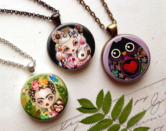 3 in 1 Mix & Match Necklace with your choice of Three Inserts - Magnetic Necklace by Sandra Vargas - Mother's Day Gift