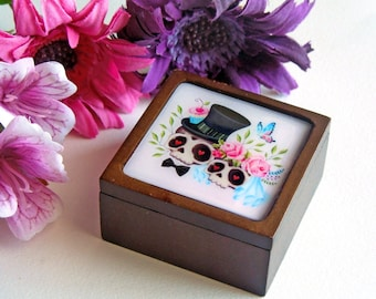 Your Choice - Sugar Skull Bride & Groom Small Wooden Box, Engagement Ring Box, Jewelry Box, Trinket Box, Gift Box - MADE TO ORDER