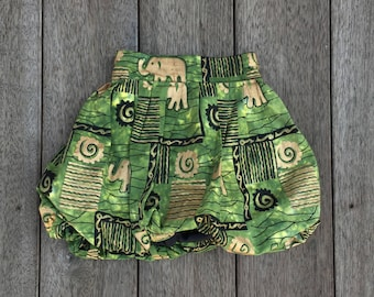 Gold Elephants on Green Puffball Skirt, handmade by Fi and Me
