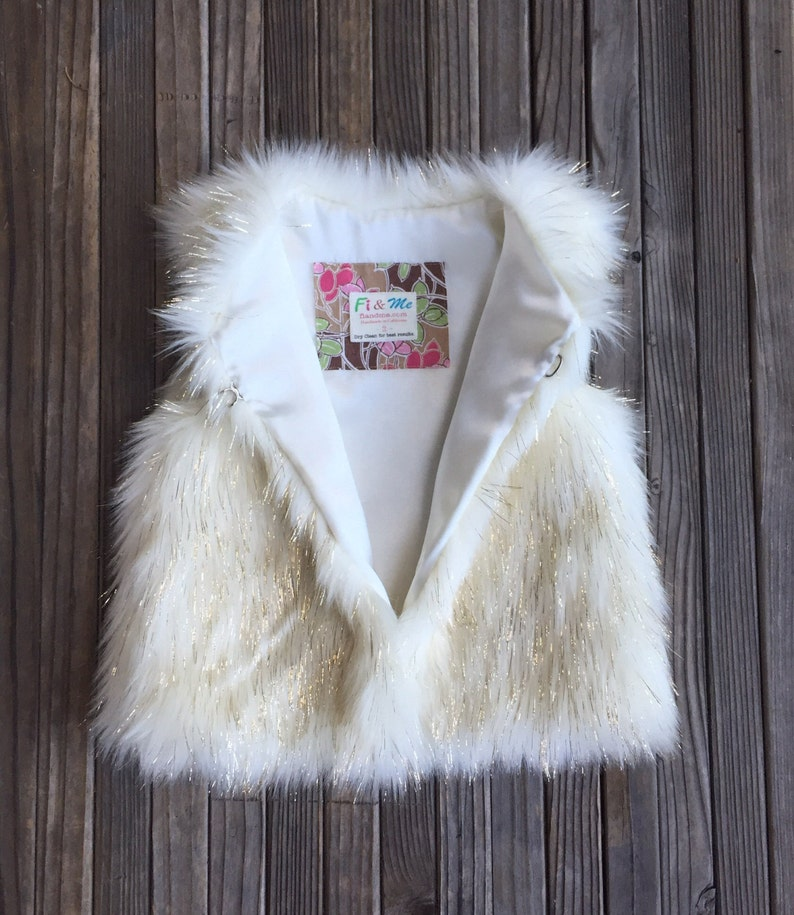 b76b0df74 Faux Fur Girls Vest White   Gold Girl Metallic Holiday