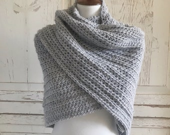Soft Wool Shawl Wrap : Light Gray