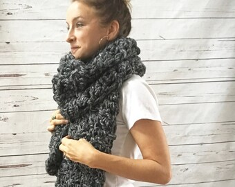 Oversized Chunky Scarf | Charcoal Gray