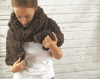 Oversized Chunky Scarf | Coffee Brown