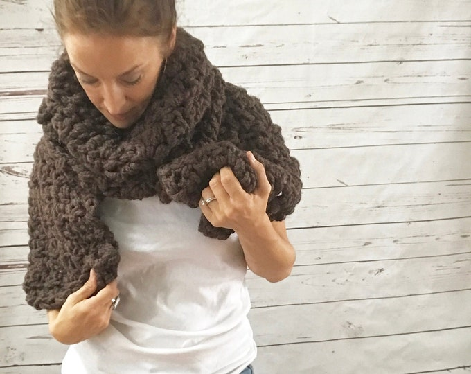 Featured listing image: Oversized Chunky Scarf | Coffee Brown