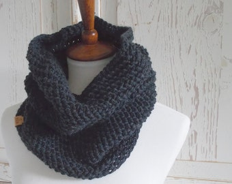 Infinity Scarf Cowl + Charcoal Gray