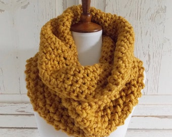 Chunky Infinity Scarf Cowl + STYLE #1037 + Mustard