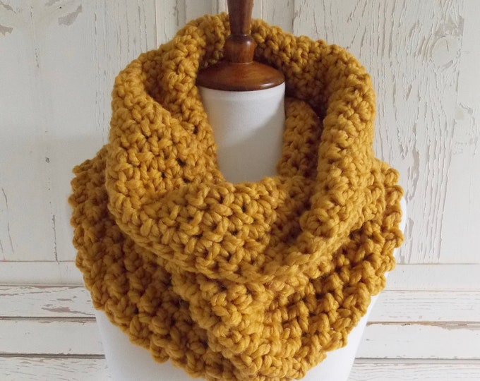 Featured listing image: Chunky Infinity Scarf Cowl + STYLE #1037 + Mustard