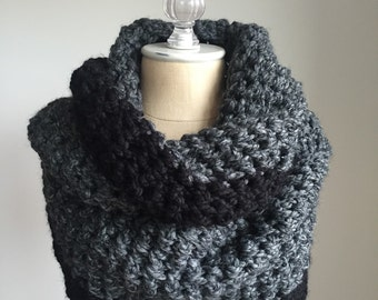 Chunky Infinity Scarf + STYLE #1010 + Colorblock + Charcoal Gray + Black