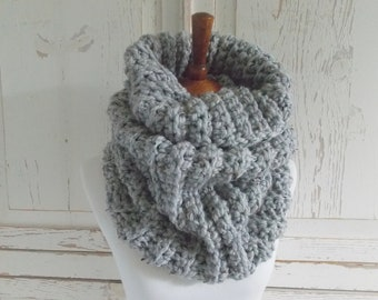 Chunky Infinity Scarf Cowl + STYLE #1036 + Gray Marble