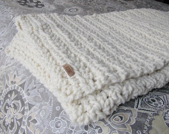 Cozy throw ~ hand knit blanket ~ Natural