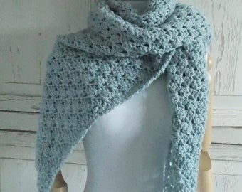 Merino Wool Shawl Wrap Scarf | Pale Blue