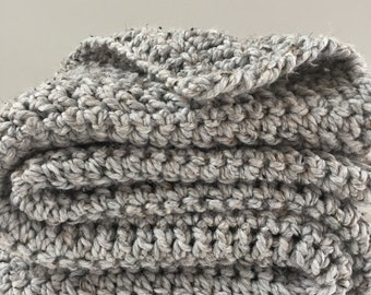 Hand Knit Throw | Gray Heather