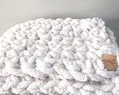 Giant Plush Throw Blanket vegan oversized chenille hygge plush arm knitting weighted blanket large throw