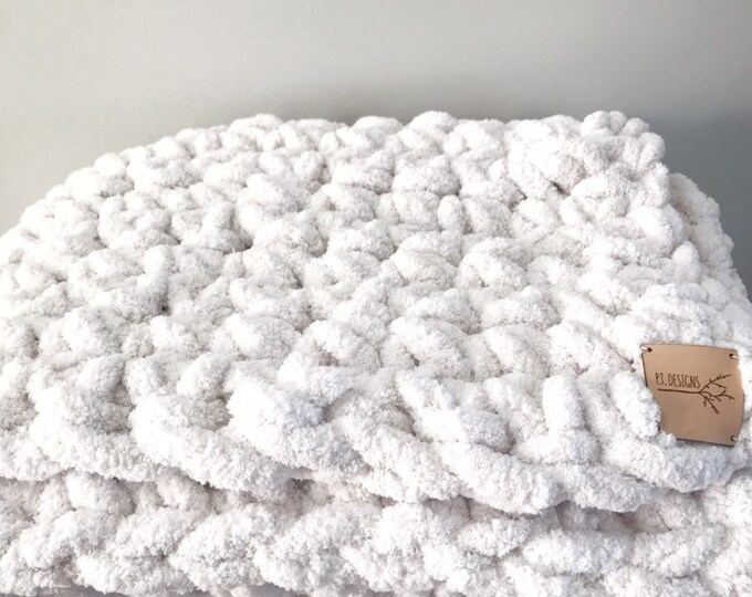 Giant Plush Throw Blanket | vegan | oversized | chenille | hygge | plush | arm knitting | weighted blanket | large throw