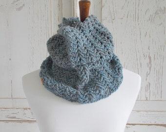 Infinity Scarf Cowl + Blue Gray + Merino Wool