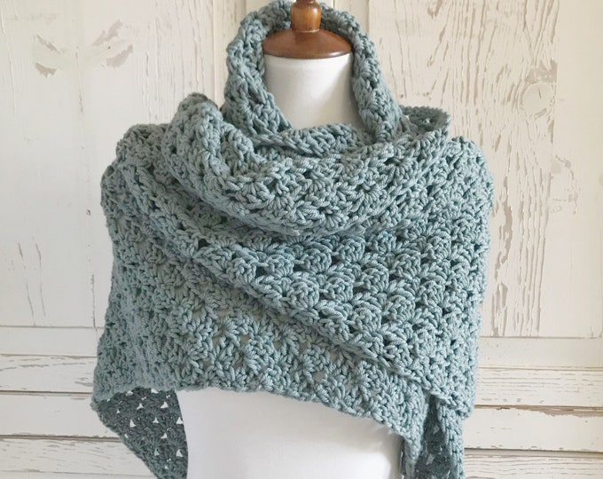 Featured listing image: Organic Merino Wool Shawl Wrap Scarf | Aquatic Blue