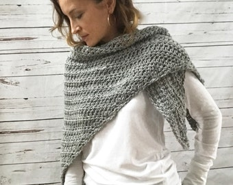 Wool Shawl Wrap Scarf | Heather Gray