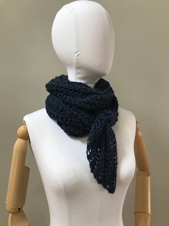 Linen Cotton Triangle Wrap Shawl : natural fibers   vegan   crochet   flax or navy   triangle scarf   eco friendly