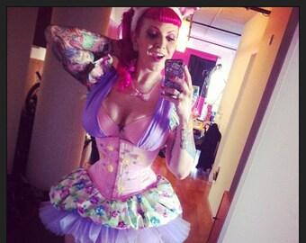 BUY NOW Pink Waist Cincher 24 in waist Fairy Flower Hand Beaded tightlacing corset