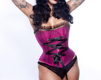 Overbust Retro Corset Magenta beading and black satin ribbon BUY NOW size 22 inch From ExRezCorsets